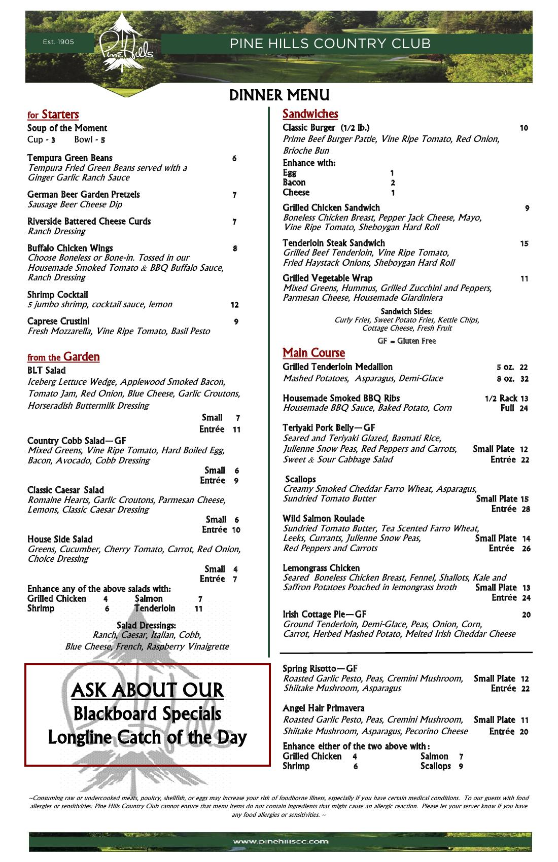 Ala Carte Dinner Menu  Pine Hills Country Club